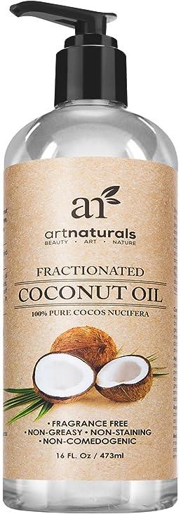Art Naturals Fractionated Coconut Oil 16 oz 100% Natural & Pure - Best Carrier / Massage Oil