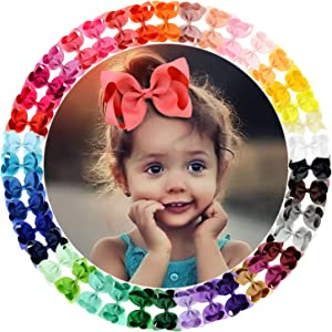 "40 Colors 4.5"" Hair Bows Clips Grosgrain Ribbon Bows Hair Alligator Clips Hair Barrettes Hair Accessories for Girls Toddler Infants Kids Teens Children"