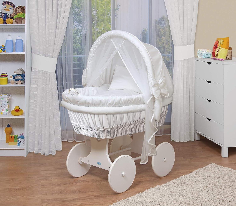 WALDIN Cuna Moisés, carretilla portabebés XXL, 44 colores a elegir,Madera/ruedas lacado en blanco,color textil blanco