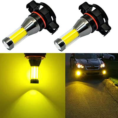 Alla Lighting Xtreme Super Bright LED 2504 PSX24W Fog Light Bulbs - High Power COB Universal 12276 2504 PSX24W LED Bulb Fog Lights Lamp Replacement - 3000K Amber Yellow: Automotive