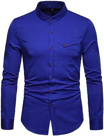 desolateness Mens Fashion Button Down Collar Slim Fit Shirt Long Sleeve Business Dress Shirt