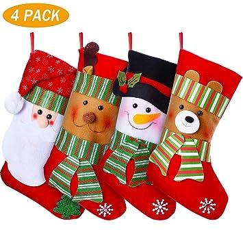YQing 4PC Calcetin Navidad Año Nuevo Medias Decoración, 15 Pulgada Calcetines Navideños Christmas Stockings Navidad