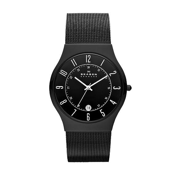 Skagen Slimline 233XLTMB - Reloj de caballero de cuarzo, correa de acero inoxidable color negro