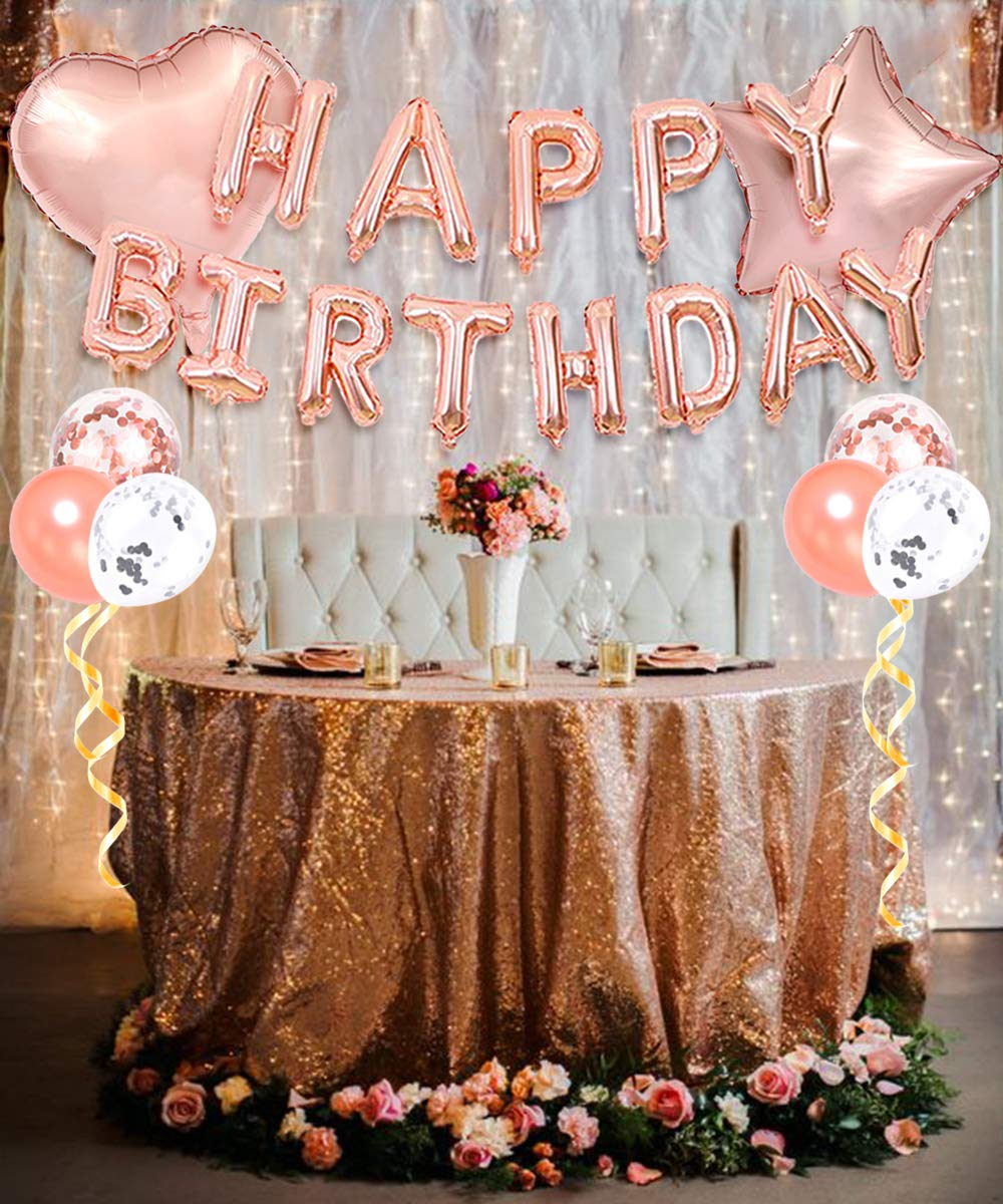 Decoraciones para fiestas de feliz cumpleaños en oro rosa: cortinas con flecos, pancarta de globos de feliz cumpleaños, globos de confeti, adorno de ...