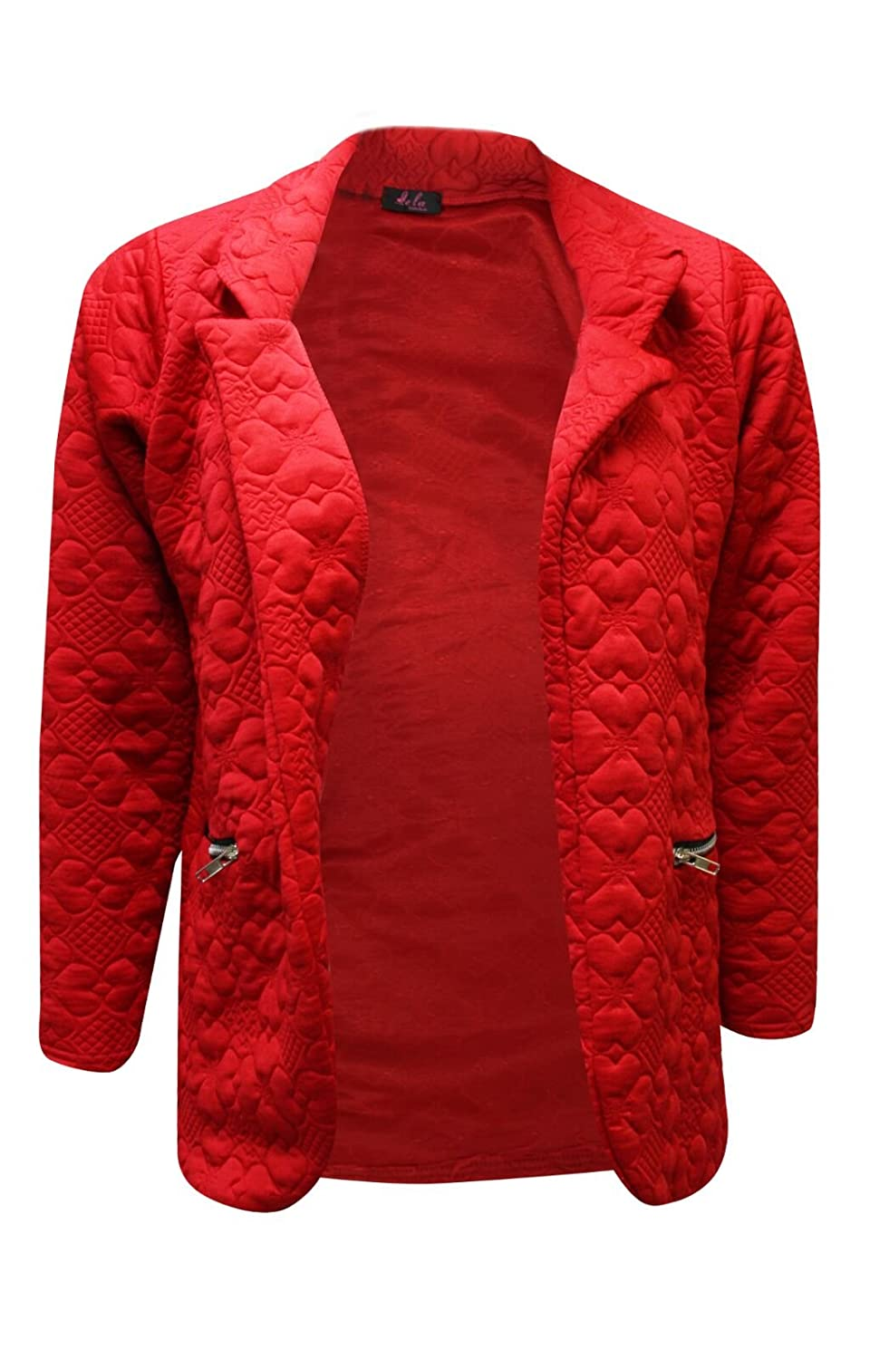 Comfiestyle New Women's Quilted Long Sleeves Side Pockets Short Body Open Front Blazer Coat. UK 8-18