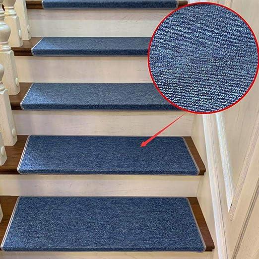 LCJTTBD Antideslizantes para alfombras de Escalera (10 Piezas) Sin Pegamento, autoaspirante, Lavable a Mano o Limpia en seco 70 * 24 * 3cm_Blue alfombras de Escalera: Amazon.es: Hogar