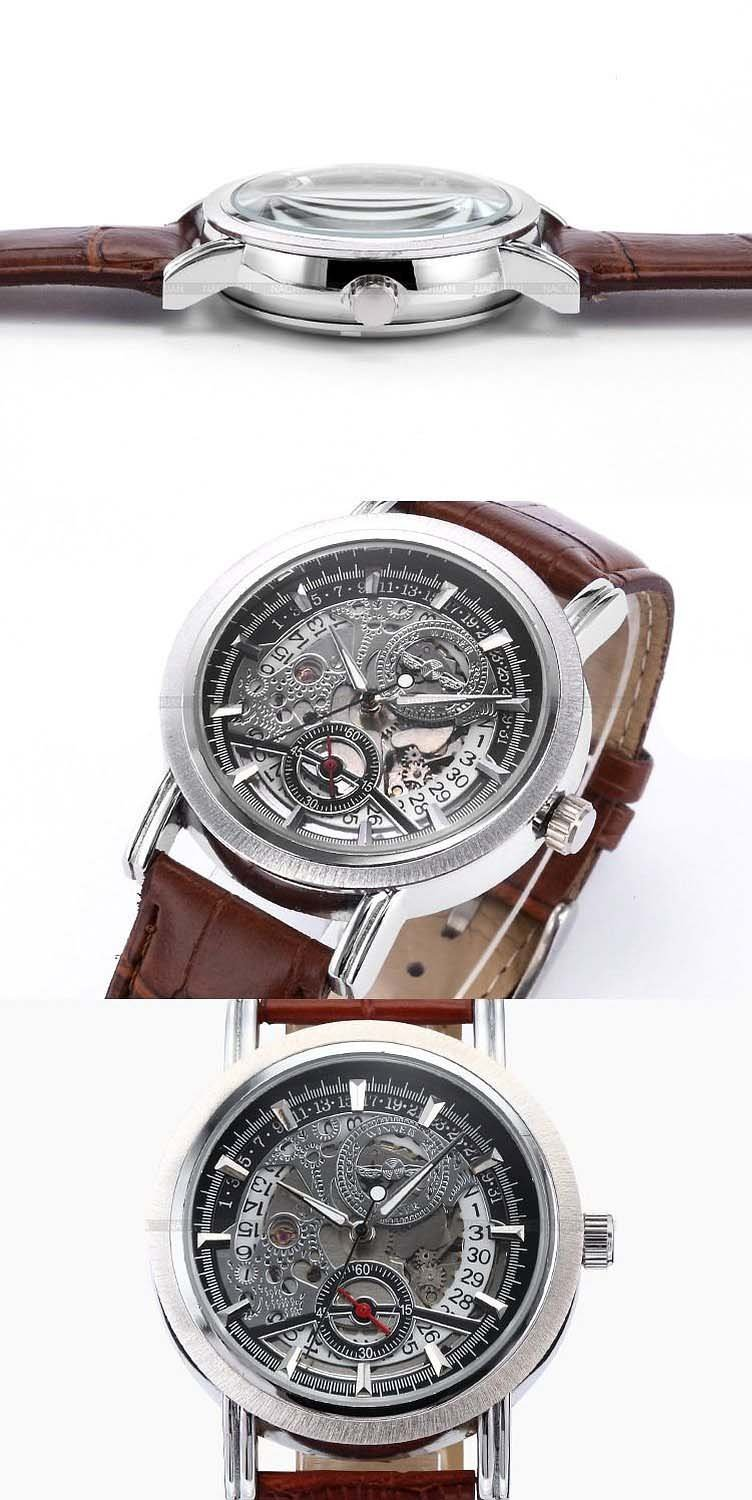 Fanmis Mens Skeleton Automatic Mechanical Date Brown Leather Strap Wrist Watch