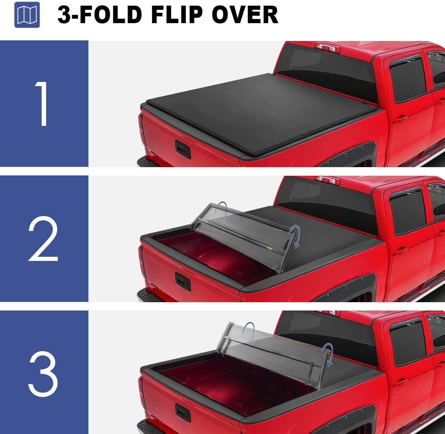 MOSTPLUS Tri-Fold Soft Truck Bed Tonneau Cover Compatible for 2019-2021 Chevy Silverado//GMC Sierra 1500 2500 3500HD Fleetside 5.8 FT 2019 1500 ONLY