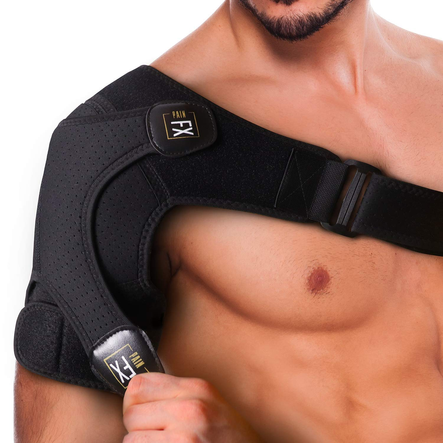 PainFX Shoulder Brace for Men with Rotator Cuff Support and Adjustable Compression Sleeve - Lightweight and Breathable, Prevents Dislocations & Speed Up Recovery from AC Sprains, Bursitis and Tears by PainFX