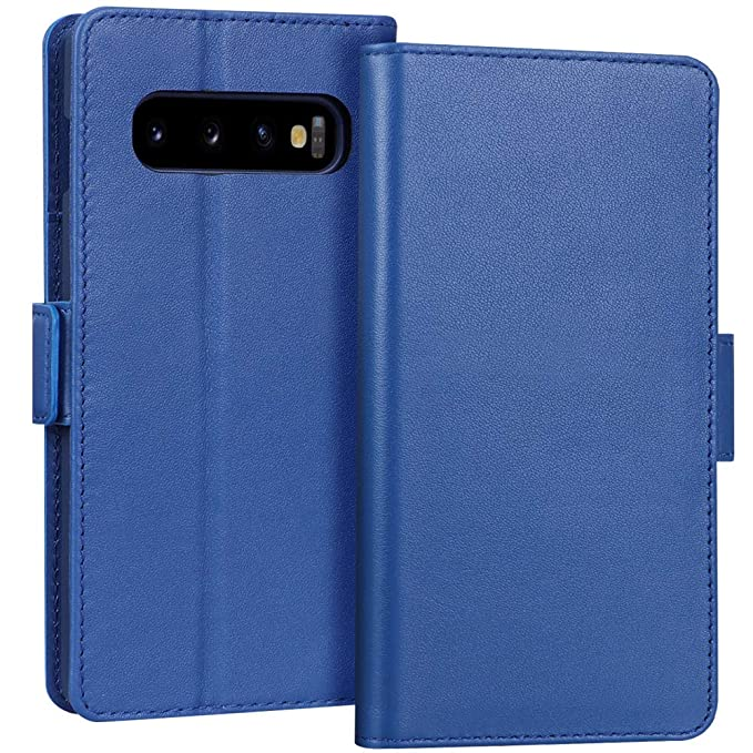 "Rezultat iskanja slik za FYY Luxury [Cowhide Genuine Leather][RFID Blocking] Handcrafted Wallet Case for Galaxy S10e, Handmade Flip Folio Case with [Kickstand Function] and [Card Slots] for Galaxy S10e (5.8"") Blue"