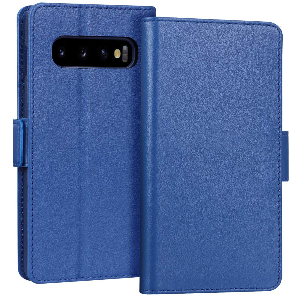 FYY Samsung Galaxy S10+ Plus 6.4'' Luxury [Cowhide Genuine Leather][RFID Blocking] Handcrafted Wallet Case, Handmade Flip Folio Case with [Kickstand Function] and[Card Slots] for Galaxy S10+ Plus Blue