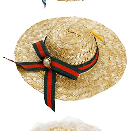 Cassiel Y Pet summer straw hat   cat puppy dog farmer hat visor cap hat  puppies Teddy bear visor LF (Color   D bf874dbe2