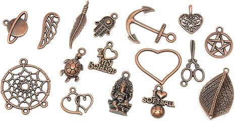 Red Copper Retro Heart Top Keys Alloy Pendants Charms DIY Jewelry 55x20mm 15PCS