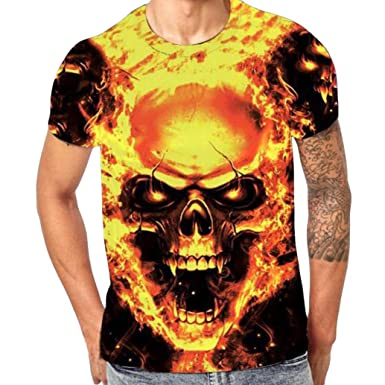 5bad60ead0c6 Kanpola Oversize Herren Shirt Slim Fit Schwarz Adler Totenkopf 3D Bedruckte  Kurzarmshirt T-Shirt Tee