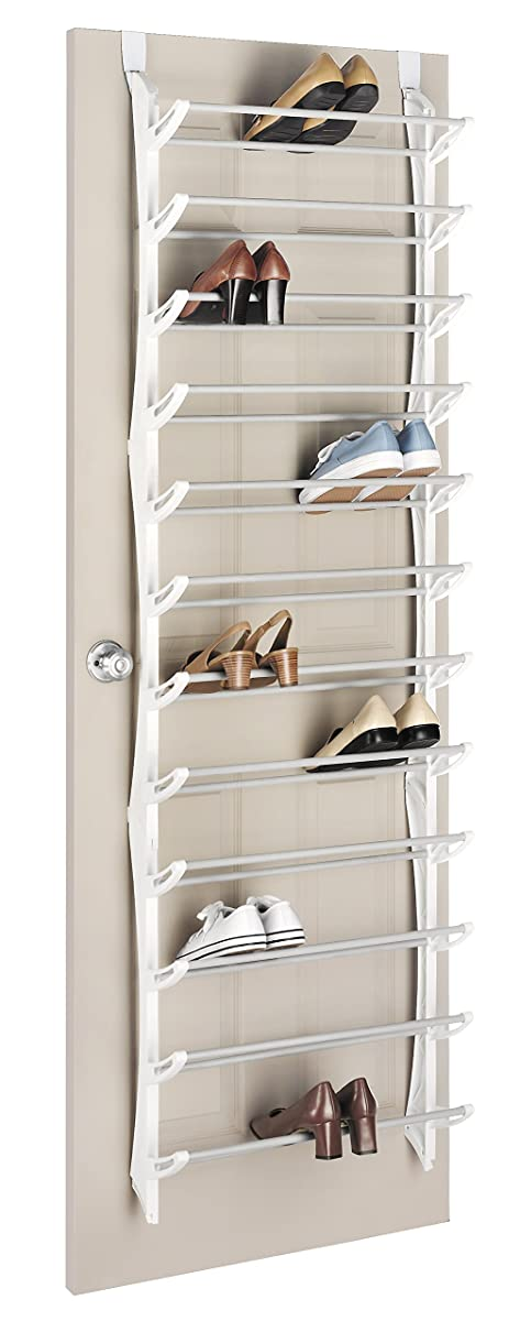 Whitmor Over The Door Rack-36 Fold Up Non Slip Bars Shoe Rack, 36-Pair, White