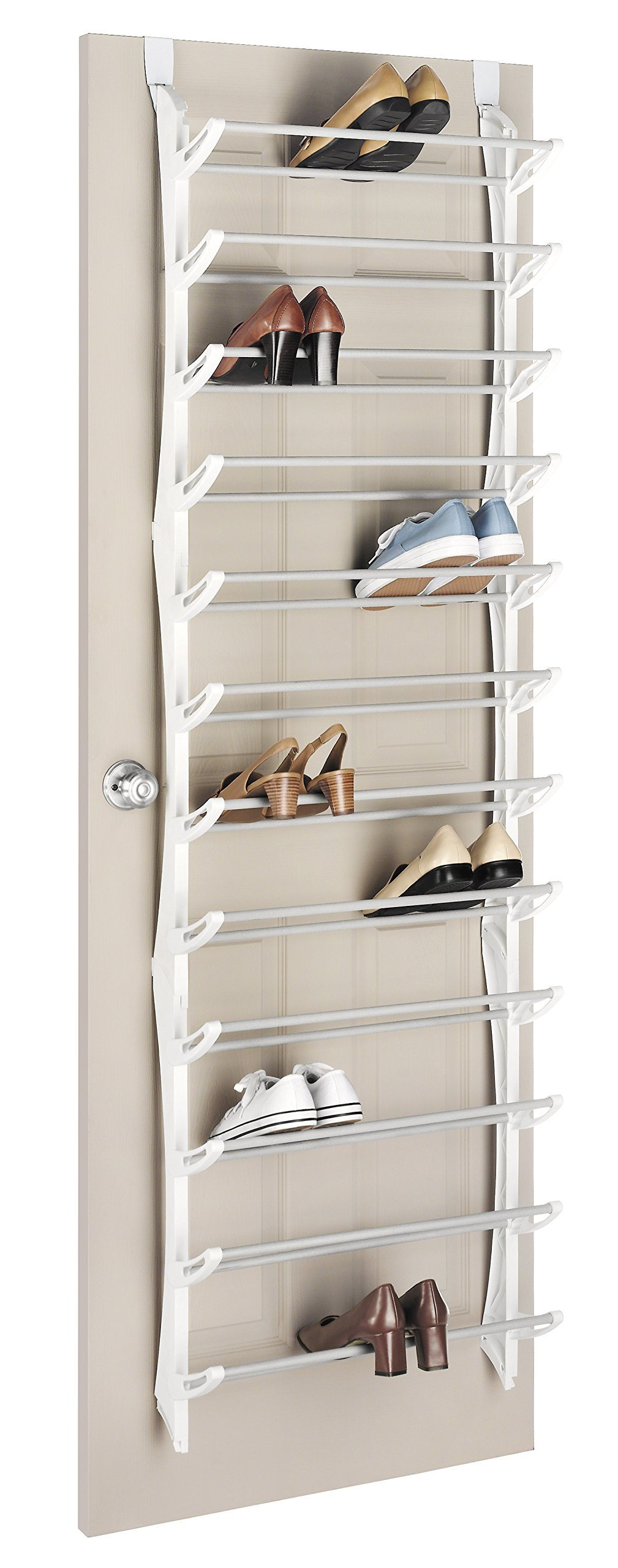 Whitmor Over the Door Shoe Rack - 36 Pair - Fold Up, Nonslip Bars by Whitmor