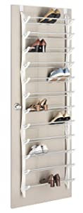 Whitmor Over The Non Slip Door Shoe Rack-36 Fold Up, Nonslip Bars, 36-Pair White
