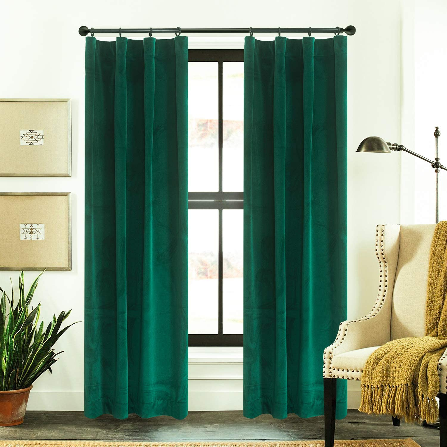 Roslynwood Velvet Curtains Dark Forest Green Green Rod Pocket Drapes Emerald Green 84 inch Thermal Insulated for Bedroom 2 Panels (W52'' x L84'', Emerald Green)