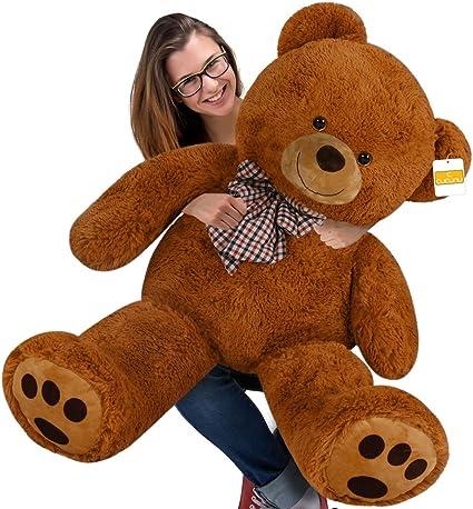 "4.5 Ft Light Brown Giant Huge Teddy Bear Cuddly Stuffed Plush Animals Toy 55/"""