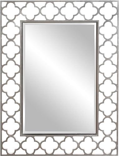 Howard Elliott Gaelic Rectangular Hanging Accent Wall Or Vanity Mirror, Brushed Nickel, 30 x 40 Inch