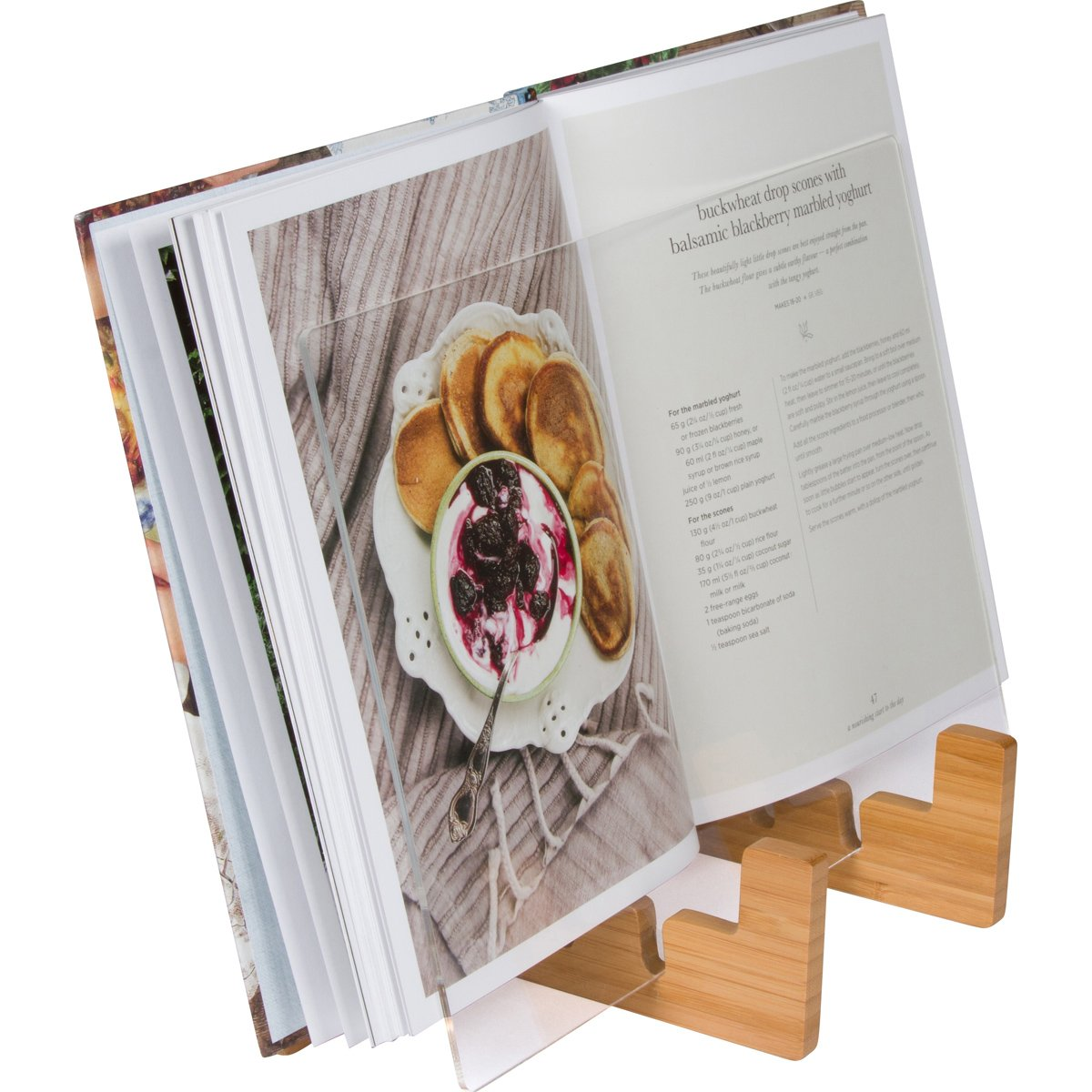Cookbook Holder & Book Stand - 2-in-1 Kitchen Book Stand for Cookbooks or iPad Stand For Kitchen. Suitable for iPad and iPad mini, Surface & Other 7-12 Inch Tablets by KitchenWarePlus