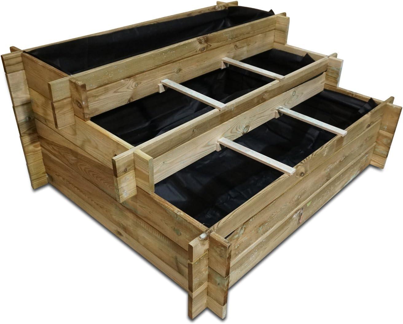 Bellissa – Maceta Escaleras Arie de pino KDI 120 x 100 x 54 cm montar Incluye pantalla de nordje® de madera: Amazon.es: Jardín