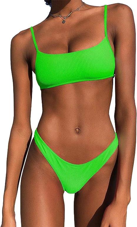 Amazon.com: IBIZA VIBE - Bikini de neón acanalado con parte ...