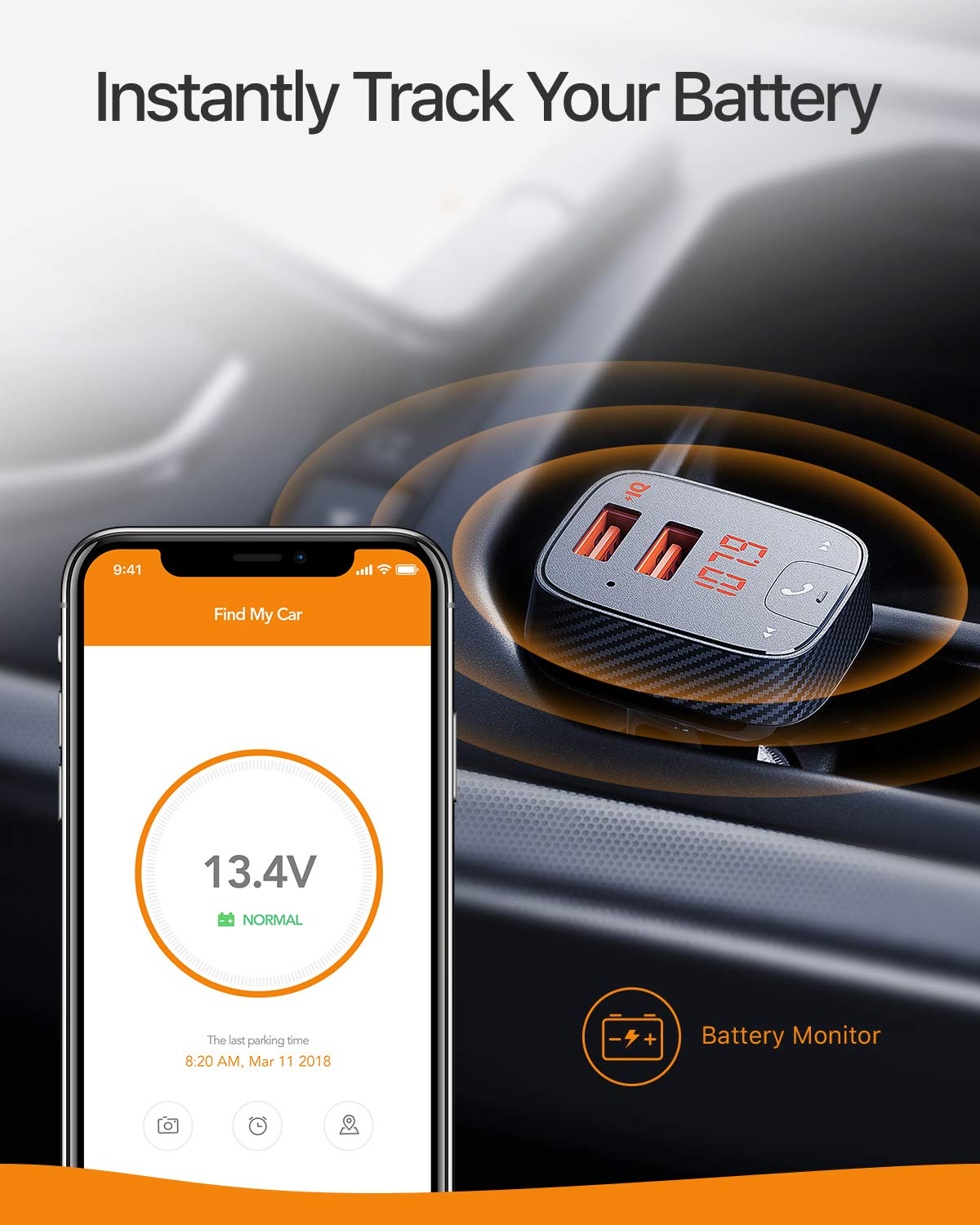 Roav SmartCharge F2, by Anker, FM Transmitter, Bluetooth Receiver, Car Charger with Bluetooth 4.2, Car Locator, App Support, 2 USB Ports, PowerIQ, AUX Output, and USB Drive to Play MP3 Files by ROAV (Image #7)