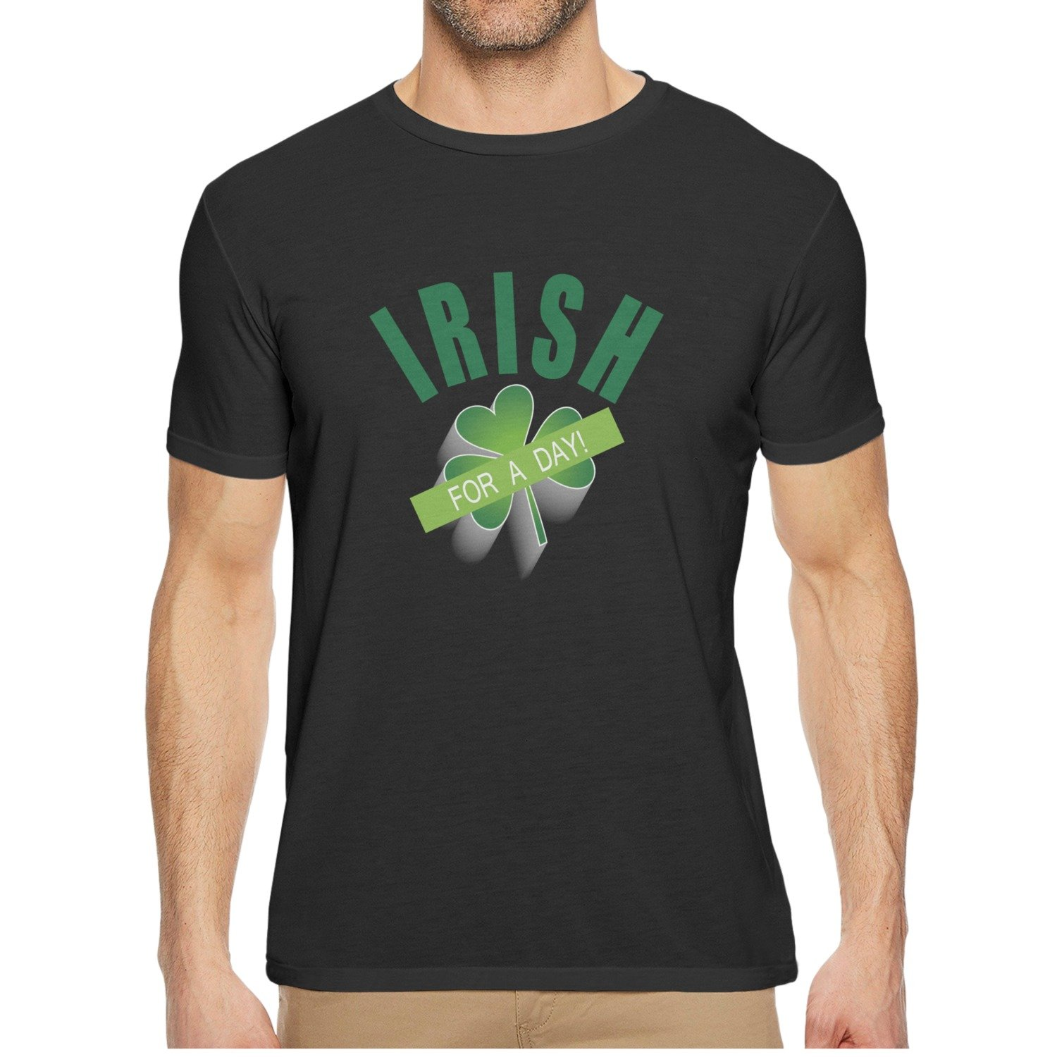 Mens Short Sleeve Funny T-shirts Qqppgg Irish For A Day