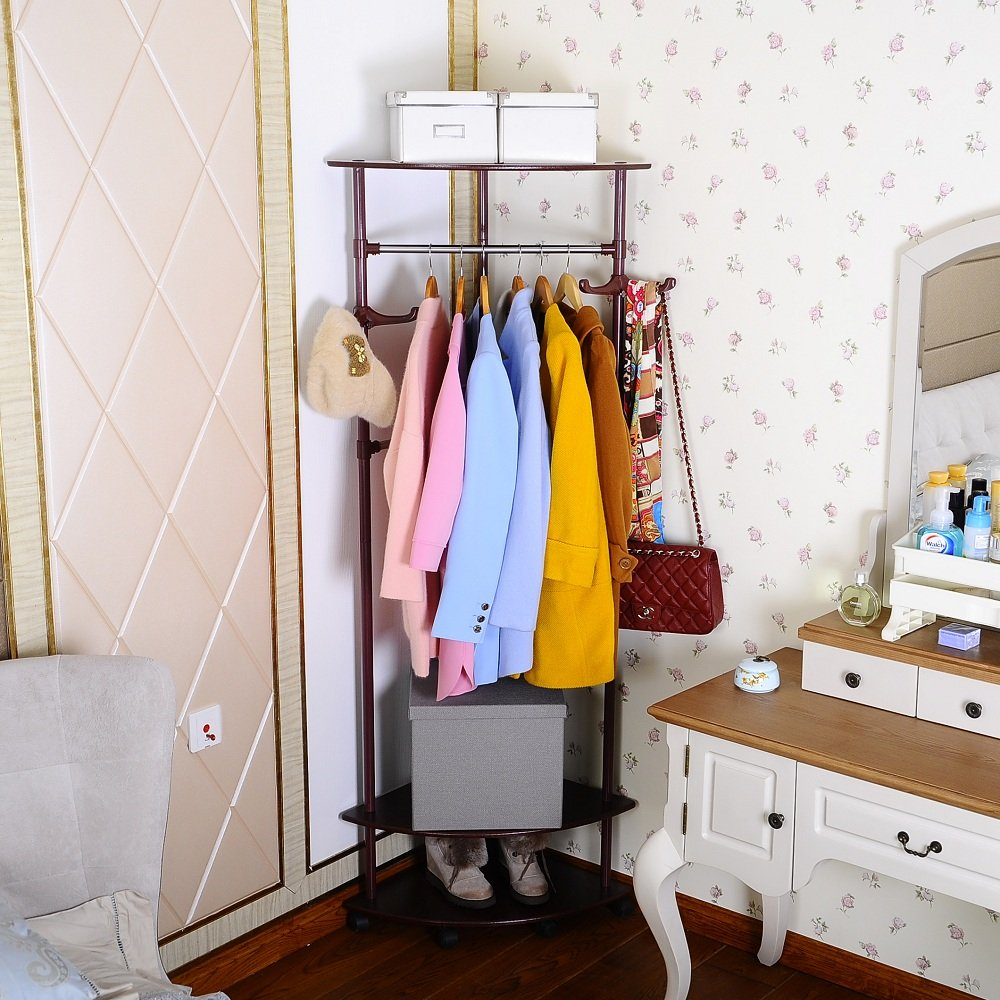 Amazon.com: BAOYOUNI Vintage Corner Coat Rack Stand Clothes ...
