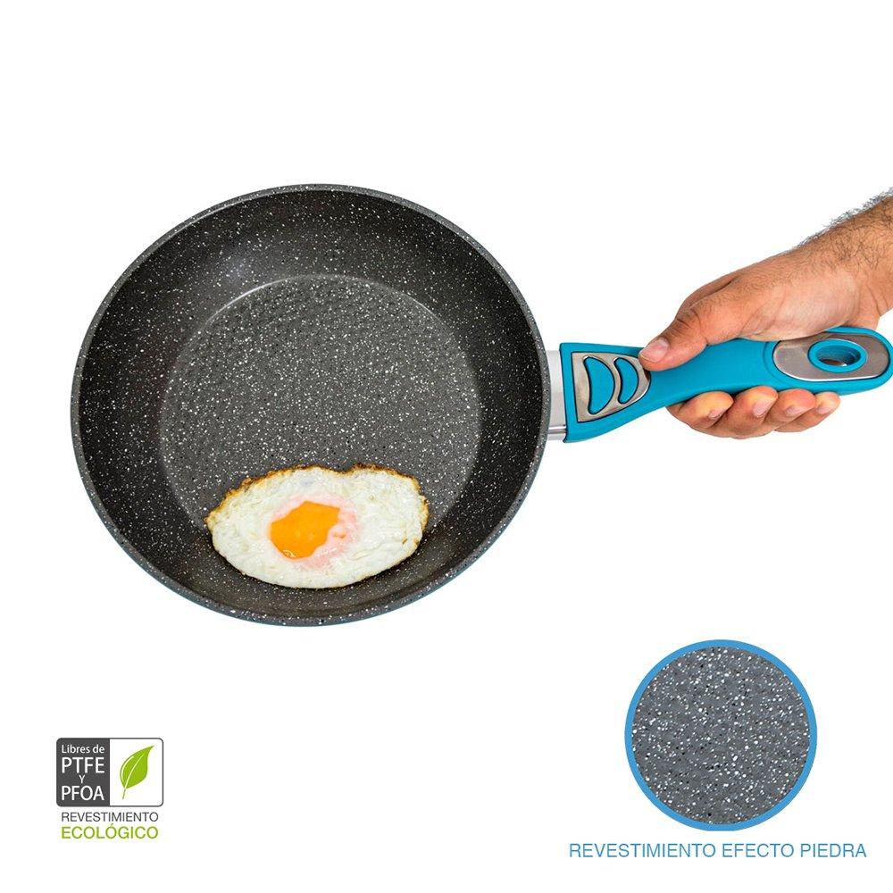 Cecotec Pack de 3 sartenes con Revestimiento cerámico ecológico de Piedra. 5 mm de Grosor. Aptas para Todas Las cocinas, Incluidas Las de inducción.