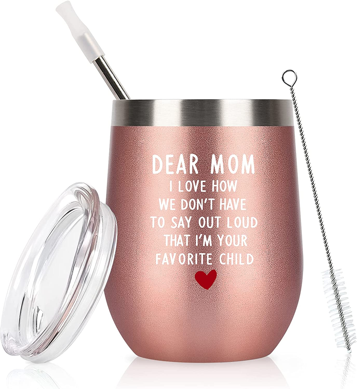 Lifecapido Mom Gifts, Dear Mom I Am Your Favorite Child Wine Tumbler, Birthday Christmas Mother's Day Gifts for Mom Mama Mother Mommy Women, 12Oz Stainless Steel Insulated Tumbler With Lid, Rose Gold