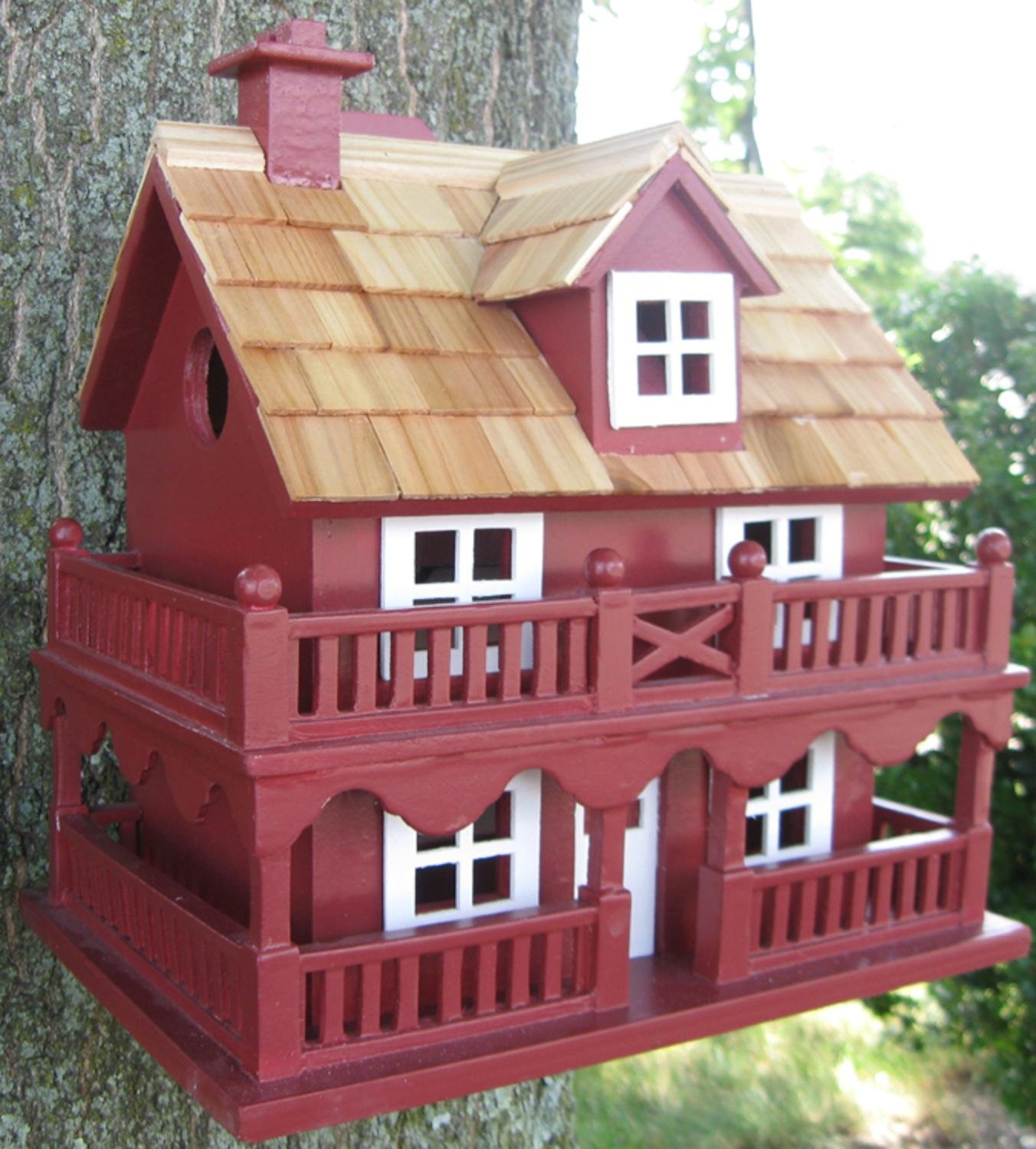 10.75'' Fully Functional Red New England Cottage Outdoor Garden Birdhouse