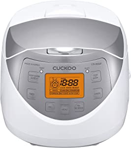 Cuckoo CR-0632F Multifunctional & Programmable Electric Rice Cooker, Intelligent Cooking Algorithm, 6 Cups (Uncooked) - 12 Cups (Cooked), Made in Korea, White/Silver