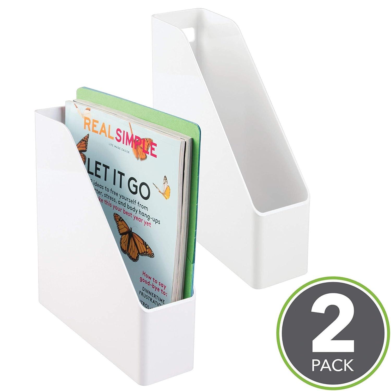 mDesign Set de archivador de plástico - 2 unidades - El perfecto organizador de papeles para periódicos, revistas, papeles y demás - Revistero de plástico: ...