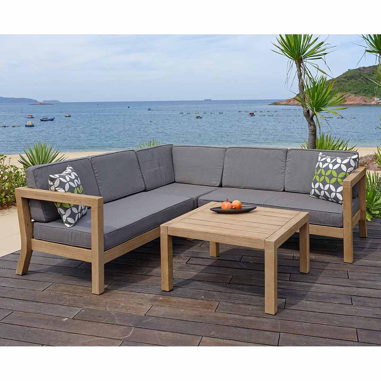 outliv vlieland loungeecke 4tlg akazie teak look polster ecru loungem bel online bestellen. Black Bedroom Furniture Sets. Home Design Ideas