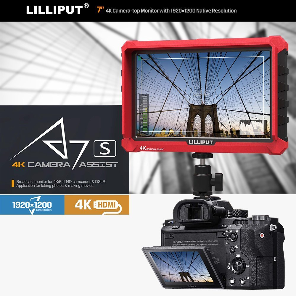 Lilliput A7S 7 Inch On Camera Field Monitor Supports 4K HDMI Input Loop Output 1920x1200 Resolution 1000:1 Contrast 500cd/M2 Brightness 170 Degree Viewing Angle With LP-E6 battery and charger by Lilliput