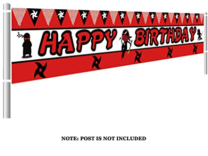 Colormoon Large Ninja Happy Birthday Banner, Ninja Warrior Birthday Party Decorations, Samurai Birthday Party Decorations (9.8 x 1.5 feet)