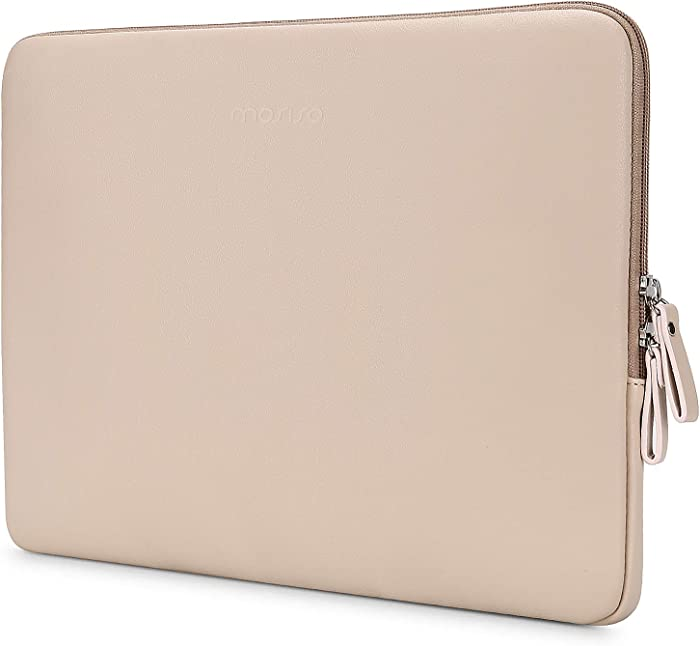 MOSISO Laptop Sleeve Compatible with 13-13.3 Inch MacBook Air/MacBook Pro Retina/2019 2018 Surface Laptop 3/2/Surface Book 2, PU Leather Super Padded Bag Waterproof Protective Case, Apricot