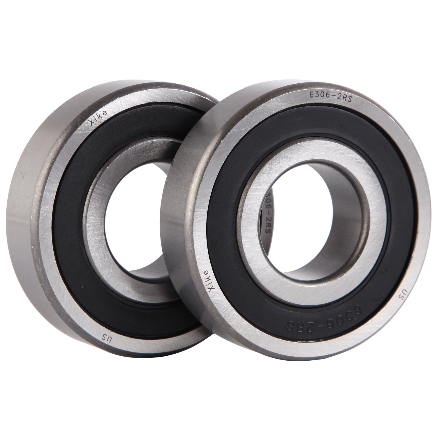 XiKe 2 Pack 6306-2RS Bearings 30x72x19mm, Stable Performance and Cost-Effective, Double Seal and Pre-Lubricated, Deep Groove Ball Bearings. 6306-2RSx2Pcs