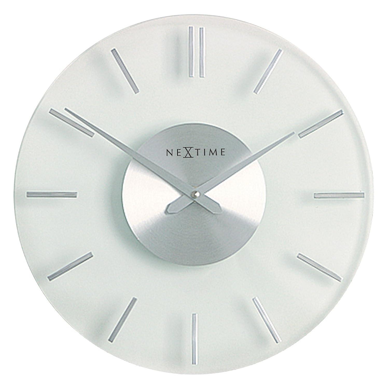 NeXtime Wanduhr Wanduhr Wanduhr STRIPE lautlos, rund, aus Glas und Edelstahl, ø 31 cm 05f2fe