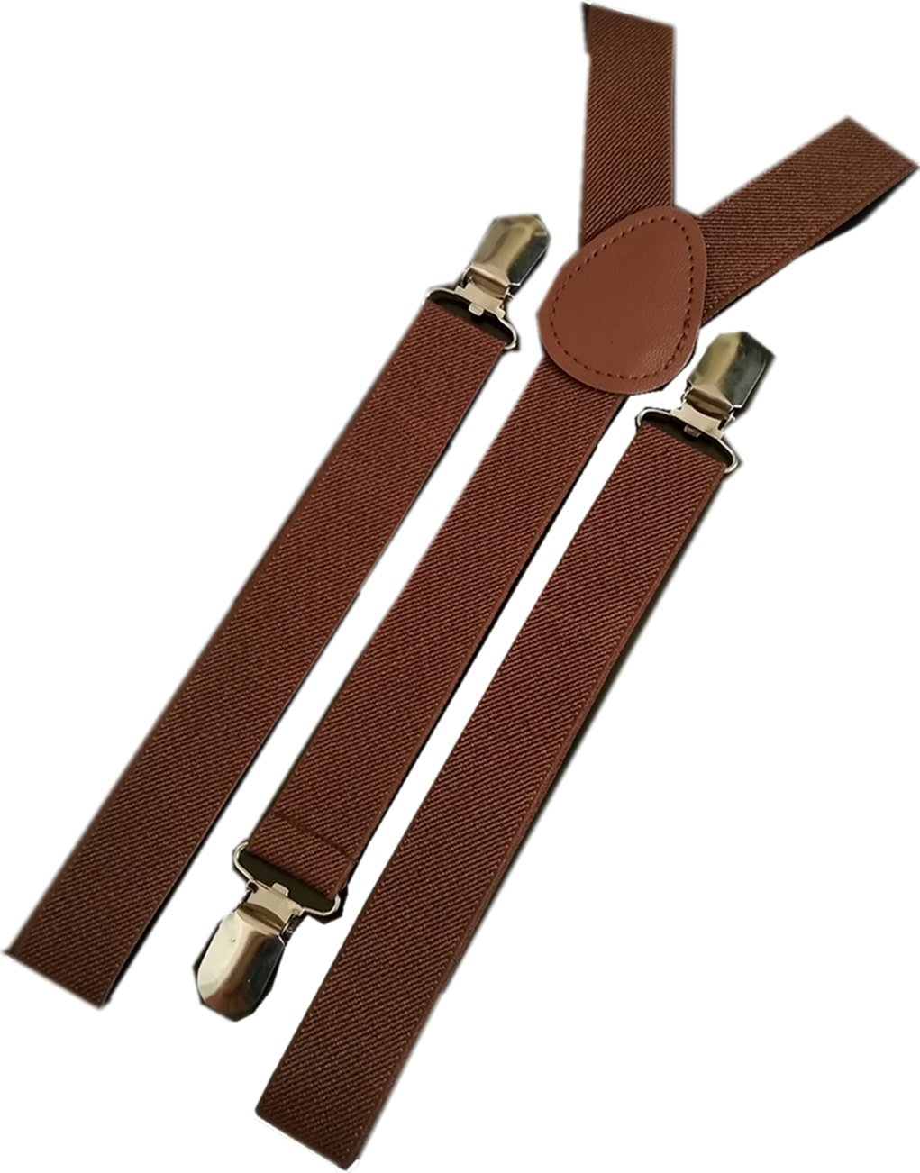 YUNEE Gentlemen Suspenders Solid Color Metal Clips Adjustable Elastic Shoulder Straps Trouser Braces (brown)