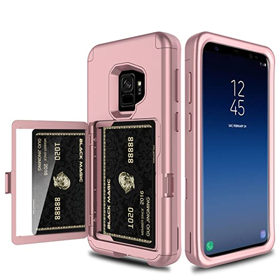 timeless design 518b2 4e33d Galaxy S9 Case, Elegant Choise Wallet Case with Hidden Back Mirror 3 in 1  Heavy Duty Shockproof Armor Defender Rugged Protective Case Cover with Card  ...