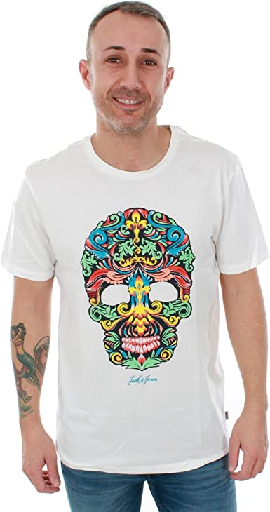 Camiseta Jack&Jones Hombre XXL Blanco Roto 12153818 JORMAGENET tee SS Crew Neck Cloud Dancer: Amazon.es: Ropa y accesorios