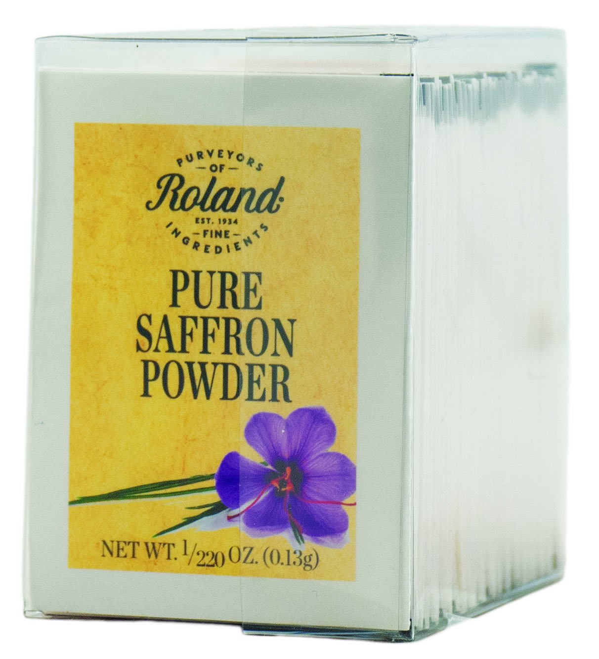 Roland Pure Saffron Powder, 50 Envelopes Net Wt. 1/220 Oz (0.13g)