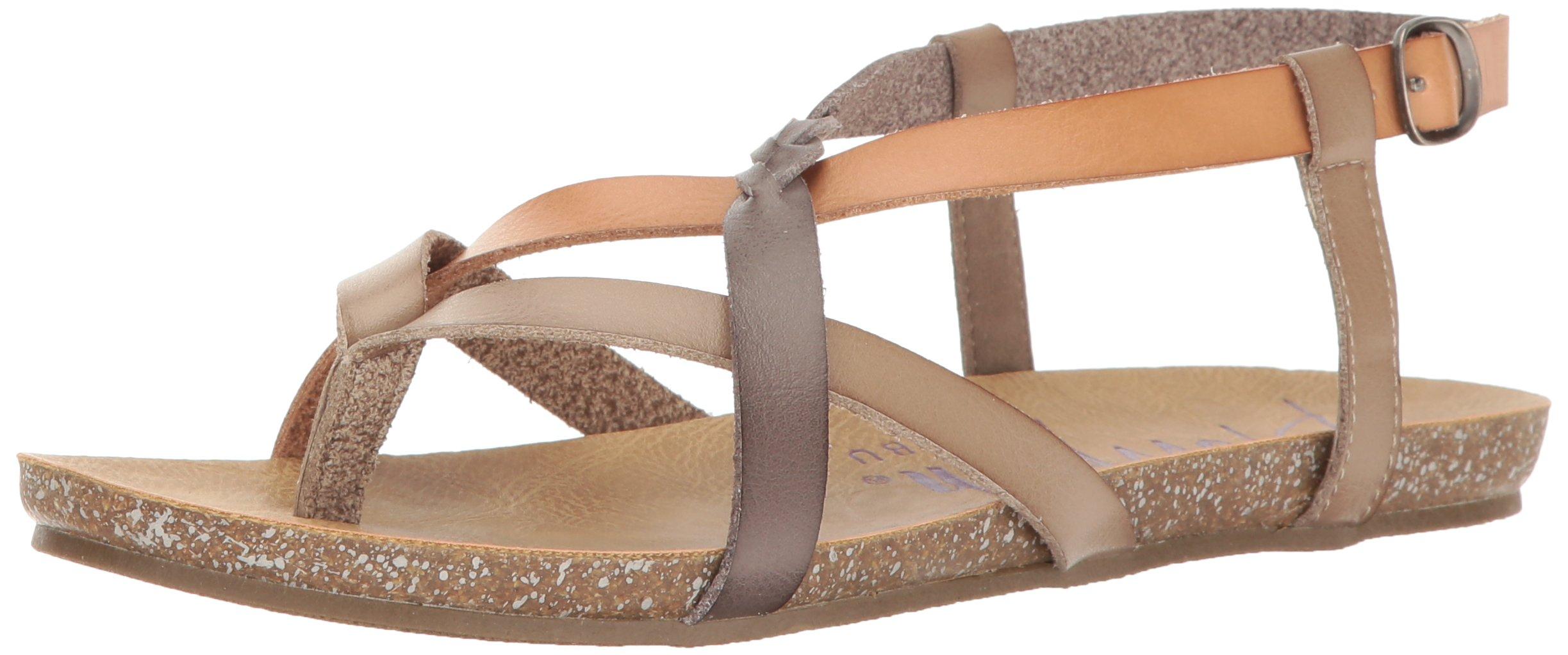 Blowfish Women's Granola-B Flat Sandal, Birch Nude Steel Grey Dyecut, 8 M US