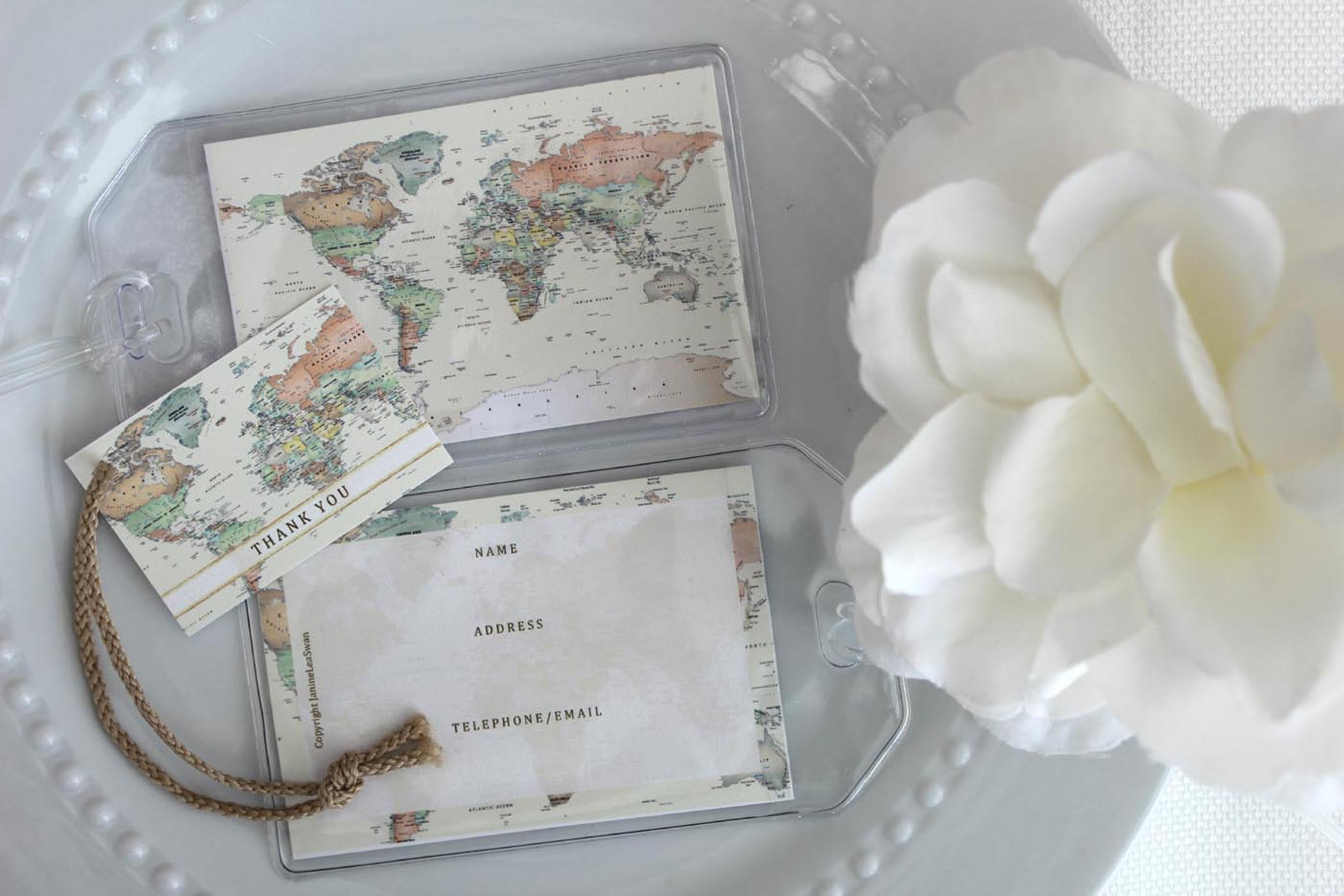 100 World Map Luggage Tag Favors ivory $1.25 ea.