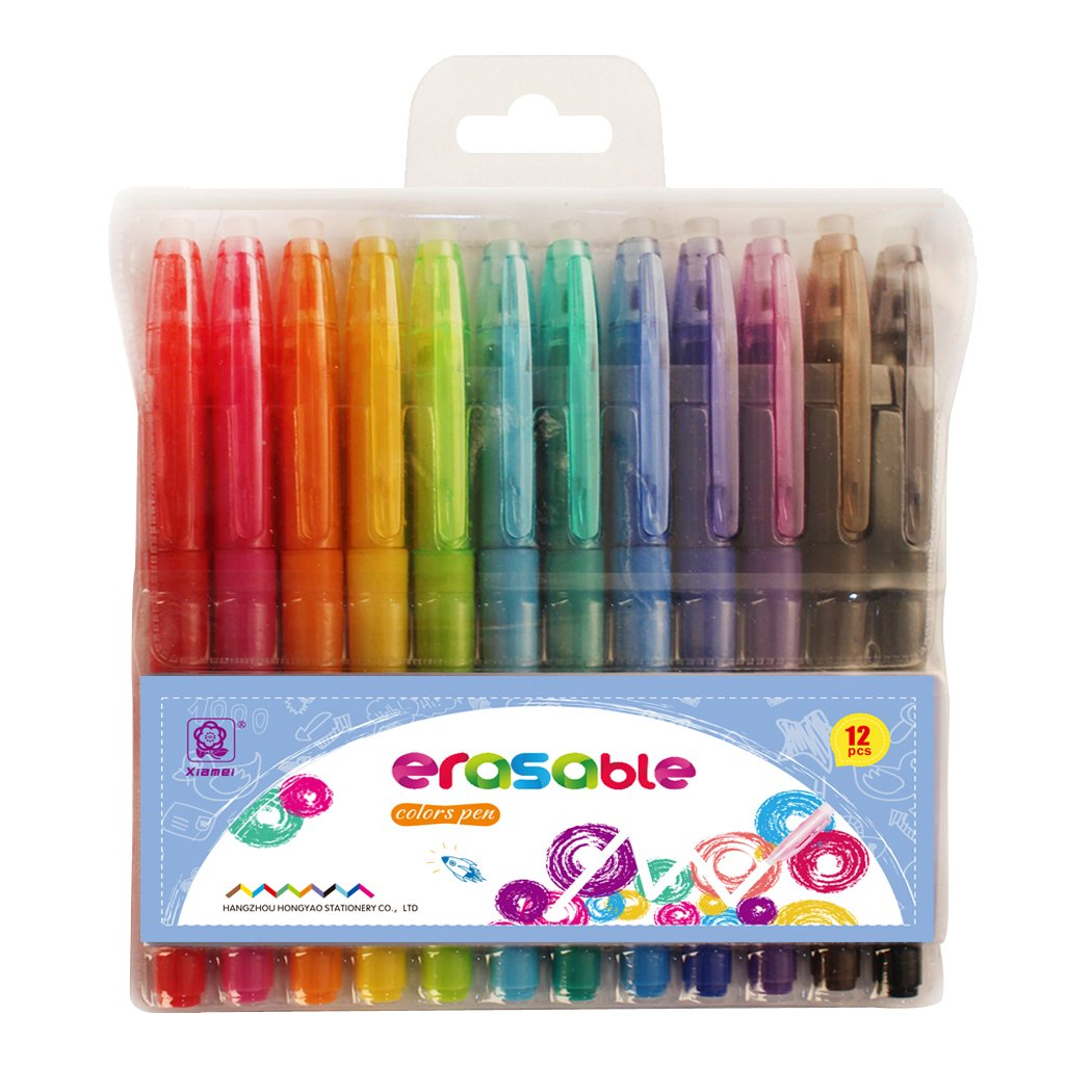Erasable Highlighters Friction Clicker Retractable Erasable Gel Pens Fine Point Assorted Color Inks 12-pk Make Mistakes Disappear No Need For White Out with No.1 Selling Pen Brand