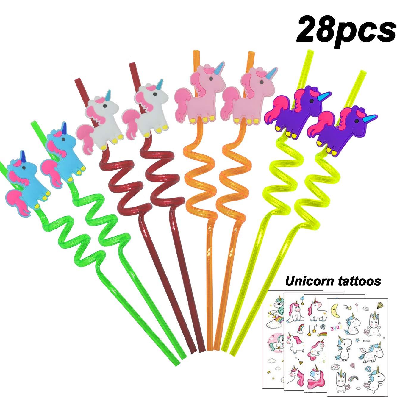 Rainbow Unicorn Party Favors Decorations Set of 28 Unicorn Birthday Party Supplies Unicorn Temporary Tattoos for Girls Reusable Unicorn Drinking Plastic Straws