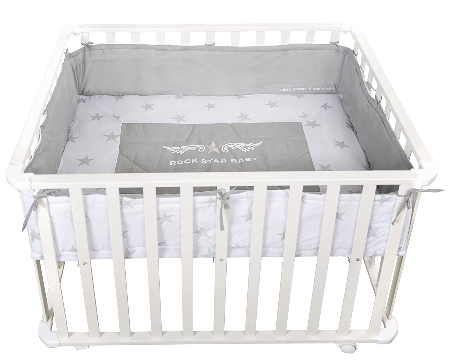 New Roba Rock Star Baby Hexagonal Wooden Playpen White And Grey Baby Gear